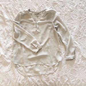silky semi—sheer blouse